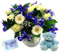 Baby Boy Flower Gift Set